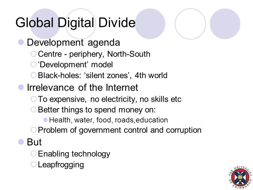 Global Digital Divide Development agenda  Centre - periphery, North-South  'Development' model  Black-holes: 'silent zones', 4th world Irrelevance of the Internet  To expensive, no electricity, no skills etc  Better things to spend money on: Health, water, food, roads,education  Problem of government control and corruption But  Enabling technology  Leapfrogging