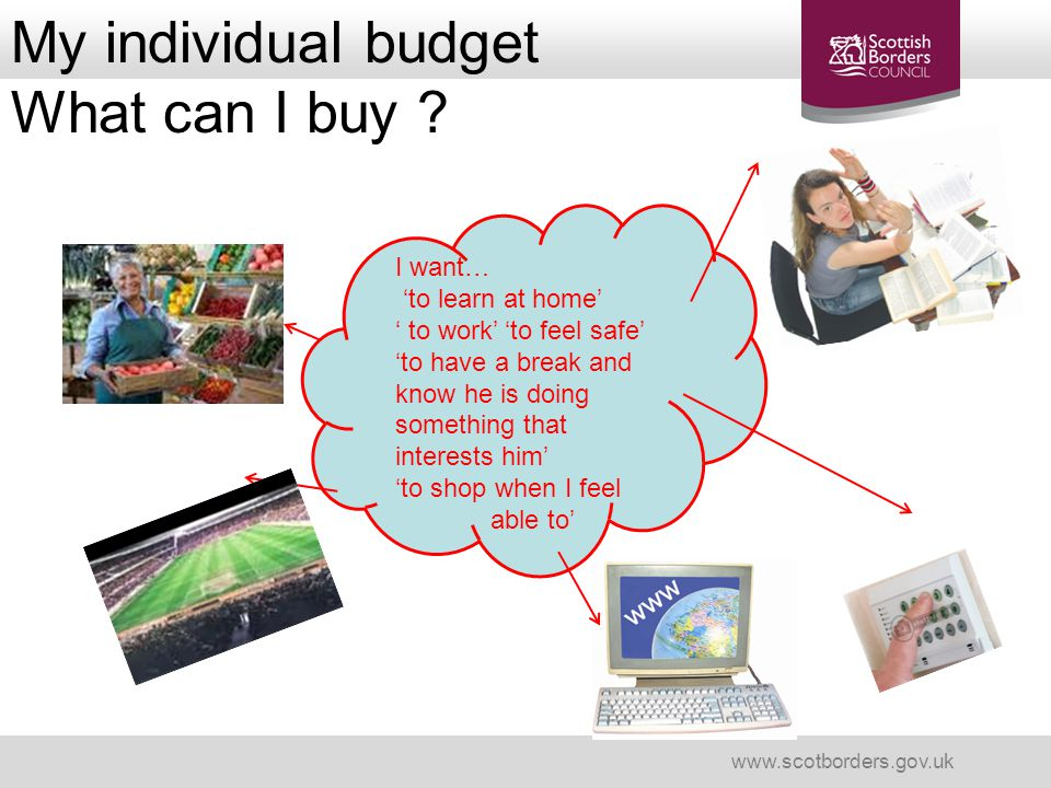 My individual budget What can I buy ? www.scotborders.gov.uk I want… 'to learn at home' ' to work' 'to feel safe' 'to have a break and know he is doin