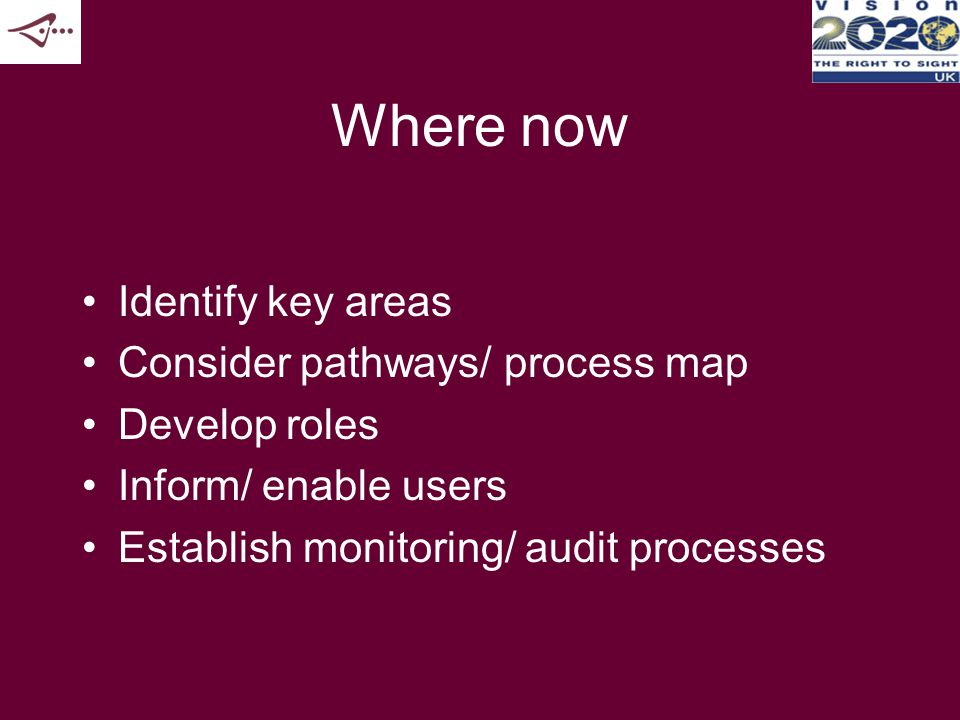 Where now Identify key areas Consider pathways/ process map Develop roles Inform/ enable users Establish monitoring/ audit processes
