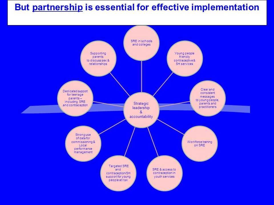 Strategic leadership & accountability SRE in schools and colleges Young people friendly contraceptive & SH services Clear and consistent messages to y