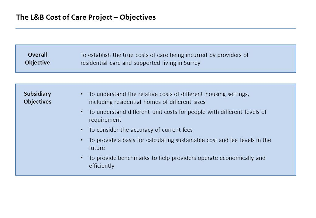 The L&B Cost of Care Project – Objectives Overall Objective To establish the true costs of care being incurred by providers of residential care and supported living in Surrey Subsidiary Objectives To understand the relative costs of different housing settings, including residential homes of different sizes To understand different unit costs for people with different levels of requirement To consider the accuracy of current fees To provide a basis for calculating sustainable cost and fee levels in the future To provide benchmarks to help providers operate economically and efficiently