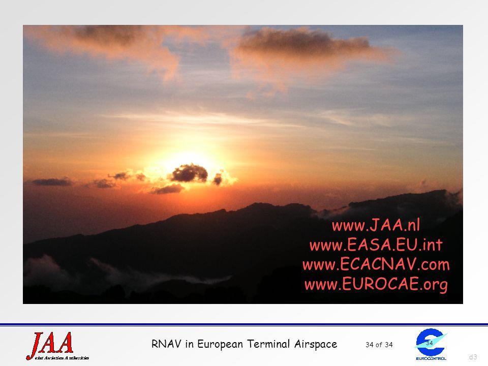 RNAV in European Terminal Airspace 34 of 34 34 d3 www.JAA.nl www.EASA.EU.int www.ECACNAV.com www.EUROCAE.org