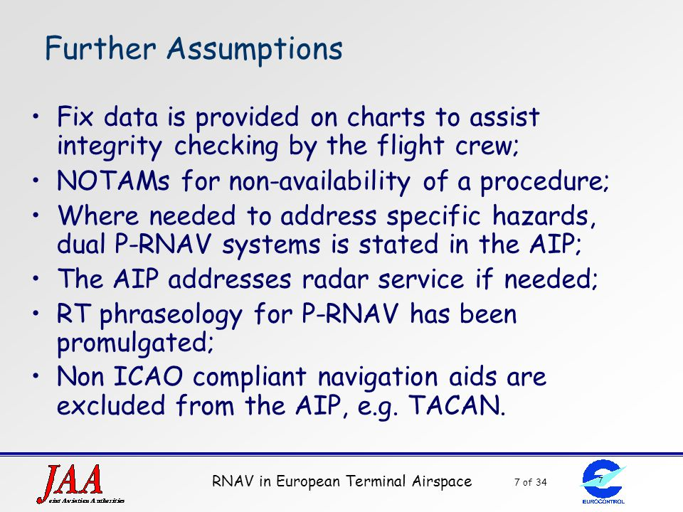 RNAV in European Terminal Airspace 7 of 34 7 Further Assumptions Fix data is provided on charts to assist integrity checking by the flight crew; NOTAM