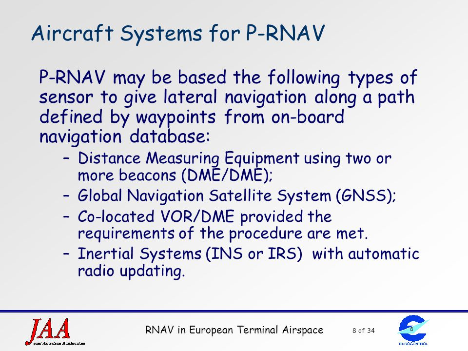 RNAV in European Terminal Airspace 8 of 34 8 Aircraft Systems for P-RNAV P-RNAV may be based the following types of sensor to give lateral navigation