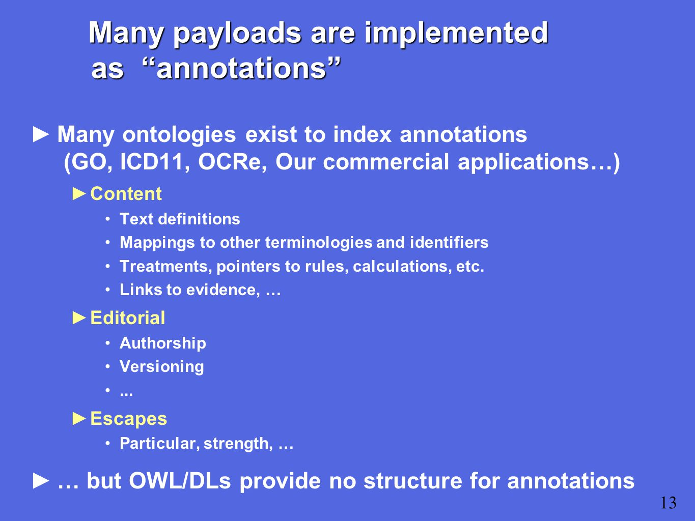 Many payloads are implemented as annotations ►Many ontologies exist to index annotations (GO, ICD11, OCRe, Our commercial applications…) ►Content Text definitions Mappings to other terminologies and identifiers Treatments, pointers to rules, calculations, etc.