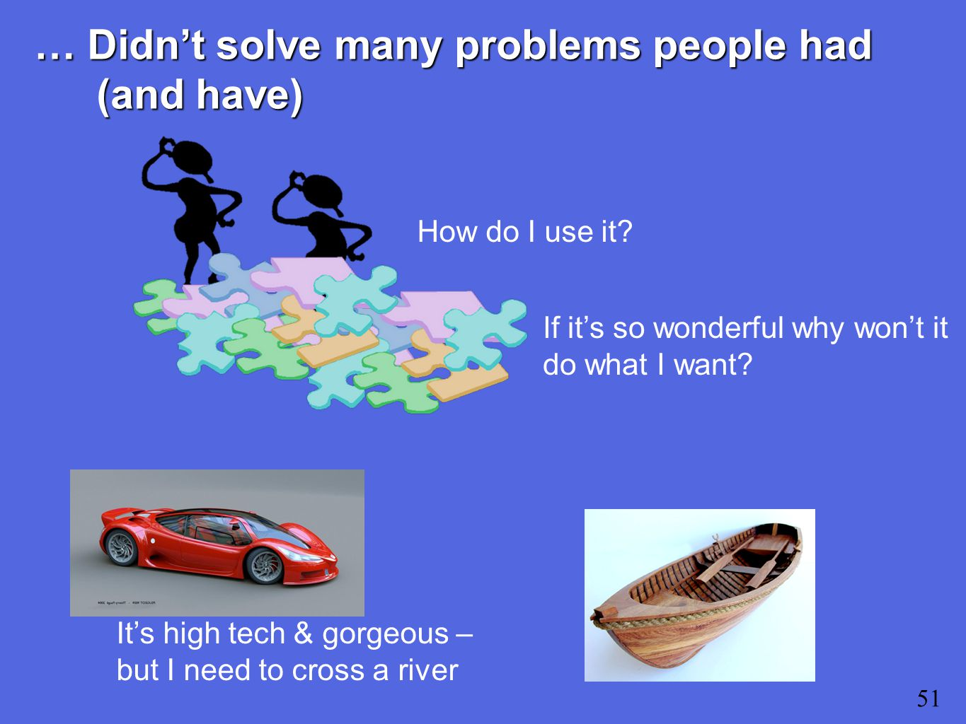 … Didn't solve many problems people had (and have) 51 How do I use it.