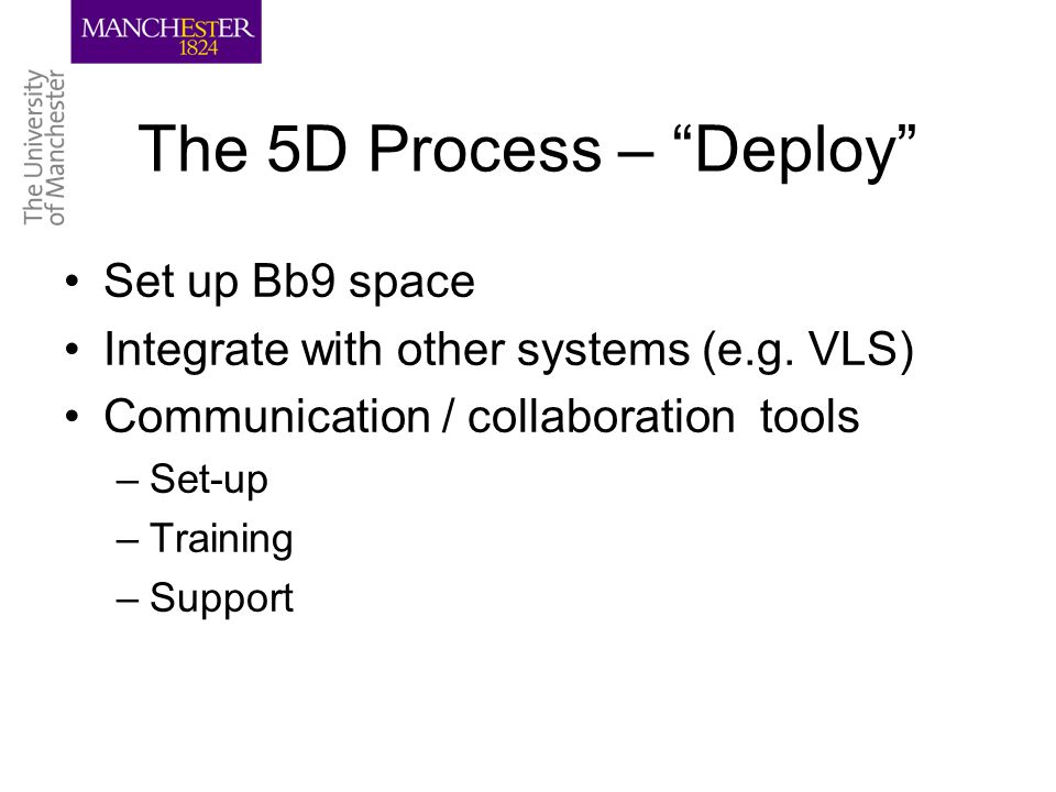 The 5D Process – Deploy Set up Bb9 space Integrate with other systems (e.g.
