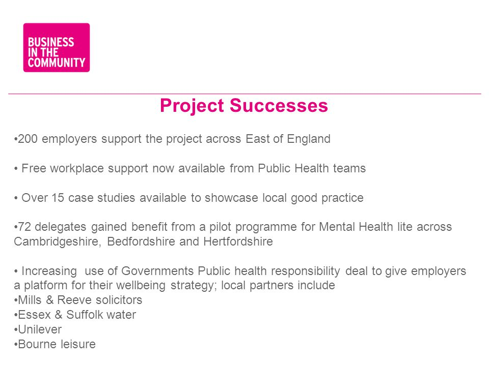 Project Successes 200 employers support the project across East of England Free workplace support now available from Public Health teams Over 15 case studies available to showcase local good practice 72 delegates gained benefit from a pilot programme for Mental Health lite across Cambridgeshire, Bedfordshire and Hertfordshire Increasing use of Governments Public health responsibility deal to give employers a platform for their wellbeing strategy; local partners include Mills & Reeve solicitors Essex & Suffolk water Unilever Bourne leisure