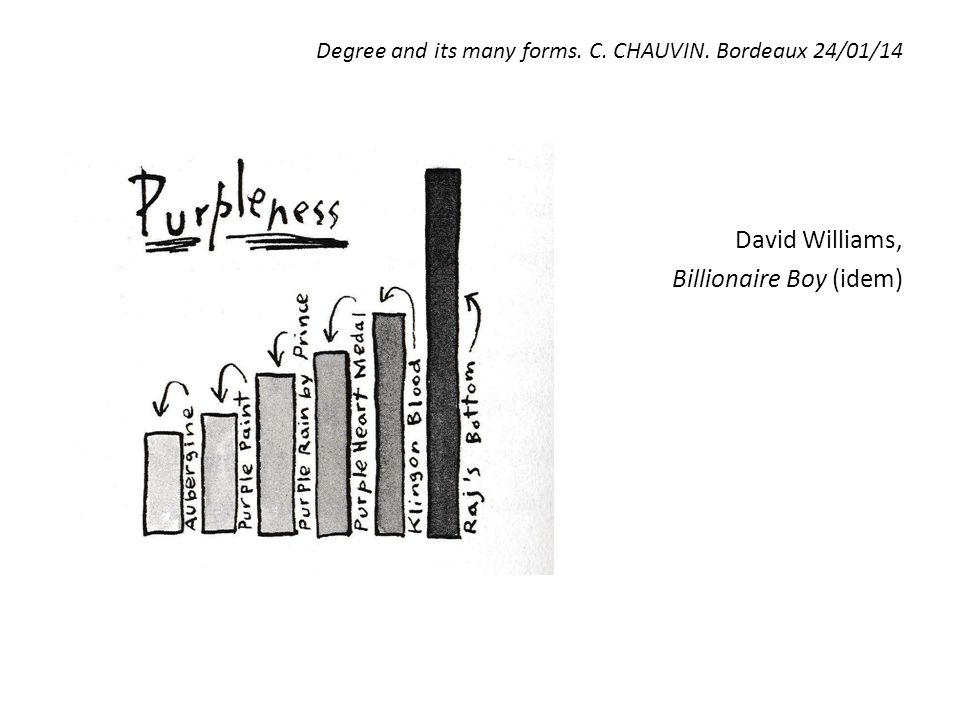 Degree and its many forms. C. CHAUVIN. Bordeaux 24/01/14 David Williams, Billionaire Boy (idem)