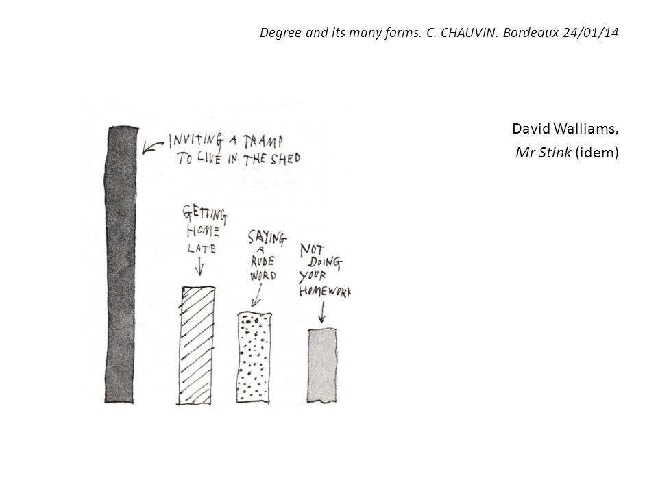 Degree and its many forms. C. CHAUVIN. Bordeaux 24/01/14 David Walliams, Mr Stink (idem)
