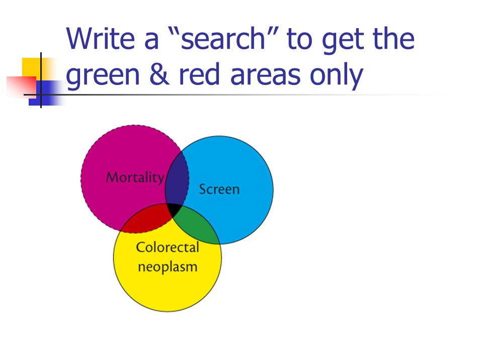 Write a search to get the green & red areas only
