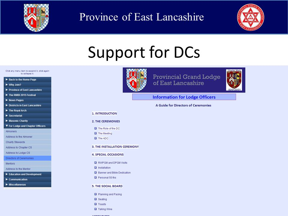 Province of East Lancashire Support for DCs