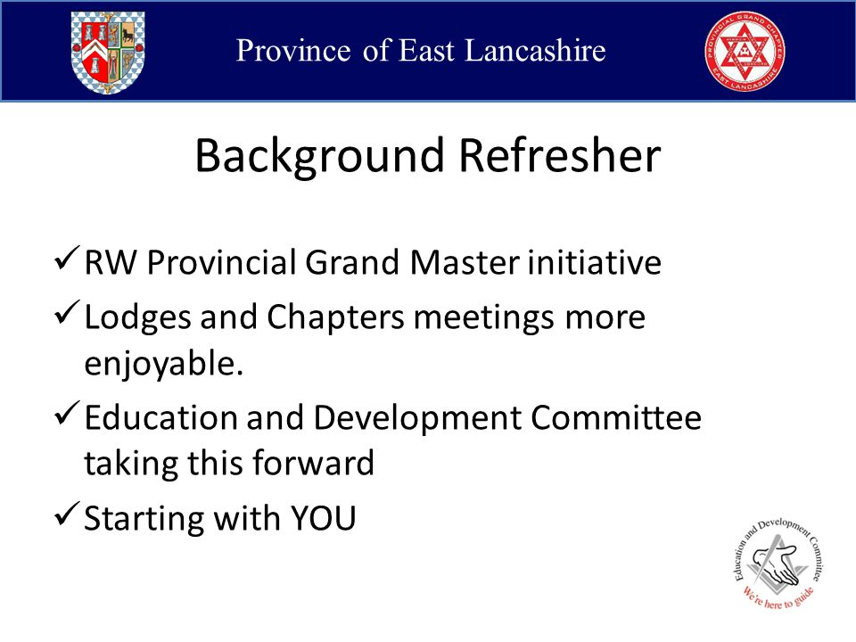 Province of East Lancashire Why start with DCs.