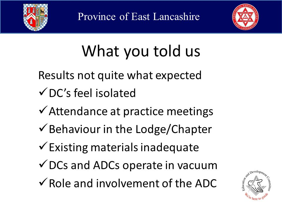 Province of East Lancashire What would be of benefit.
