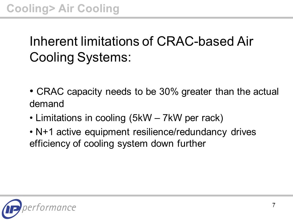 8 Some Easy-to-Implement Air Cooling Optimisation Suggestions: Hot Aisle/Cold Aisle Arrangement Cold Aisle Containment Blanking Panels Raised Floor Brush Strips Underfloor, Inter- and Intra-rack Cable Management Free Air Cooling Cooling> Air Cooling