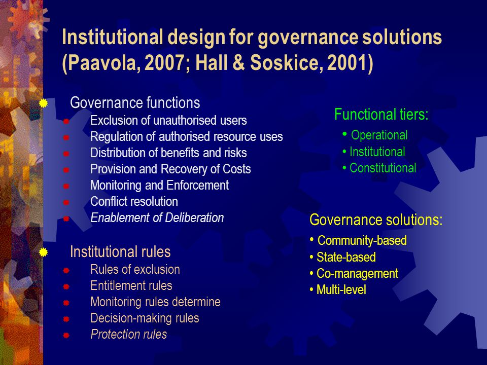 Institutional design for governance solutions (Paavola, 2007; Hall & Soskice, 2001)   Governance functions  Exclusion of unauthorised users  Regulation of authorised resource uses  Distribution of benefits and risks  Provision and Recovery of Costs  Monitoring and Enforcement  Conflict resolution  Enablement of Deliberation   Institutional rules  Rules of exclusion  Entitlement rules  Monitoring rules determine  Decision-making rules  Protection rules Governance solutions: Community-based State-based Co-management Multi-level Functional tiers: Operational Institutional Constitutional