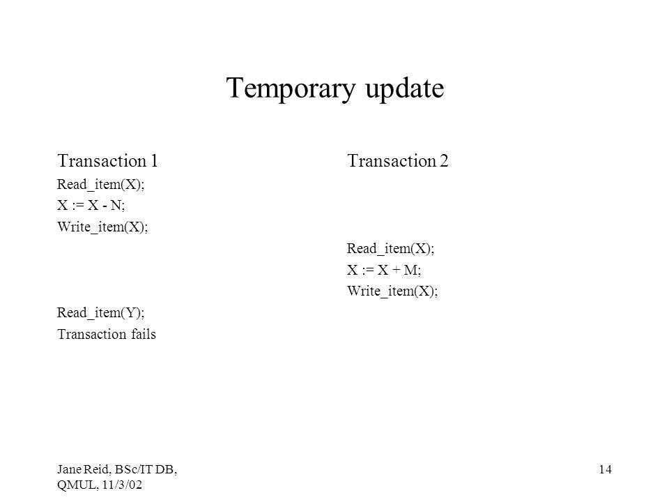 Jane Reid, BSc/IT DB, QMUL, 11/3/02 14 Temporary update Transaction 1 Read_item(X); X := X - N; Write_item(X); Read_item(Y); Transaction fails Transac