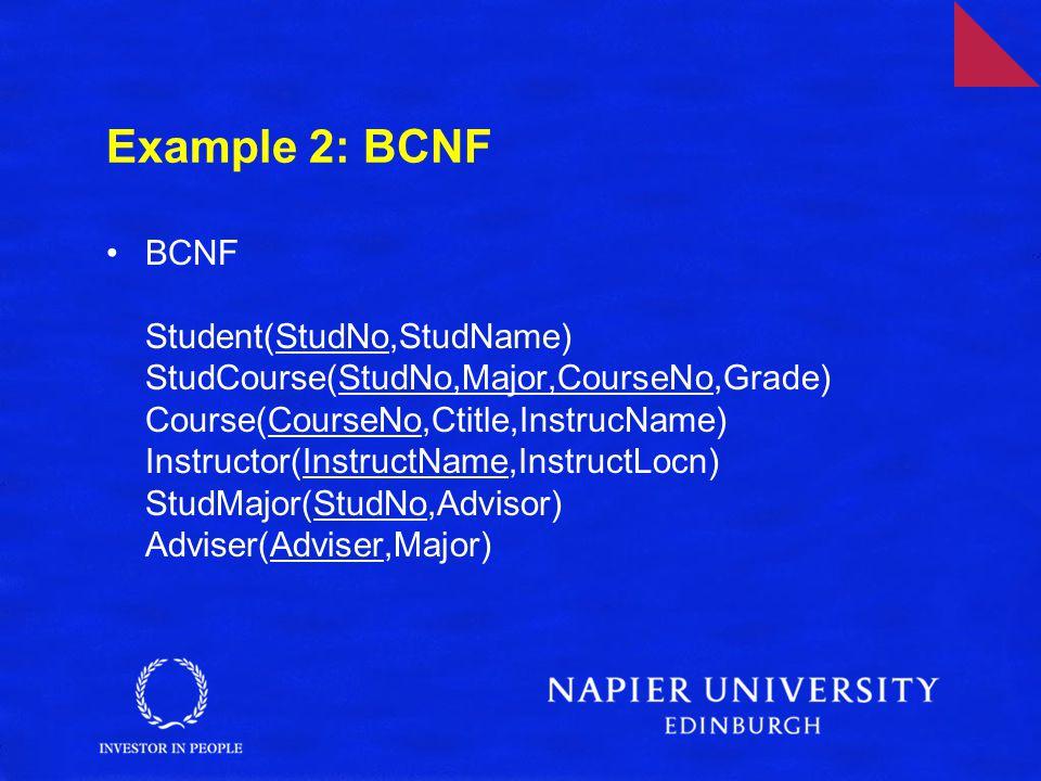 Example 2: BCNF BCNF Student(StudNo,StudName) StudCourse(StudNo,Major,CourseNo,Grade) Course(CourseNo,Ctitle,InstrucName) Instructor(InstructName,InstructLocn) StudMajor(StudNo,Advisor) Adviser(Adviser,Major)