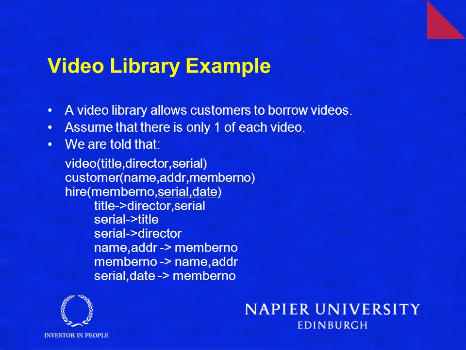 Video Library Example A video library allows customers to borrow videos.