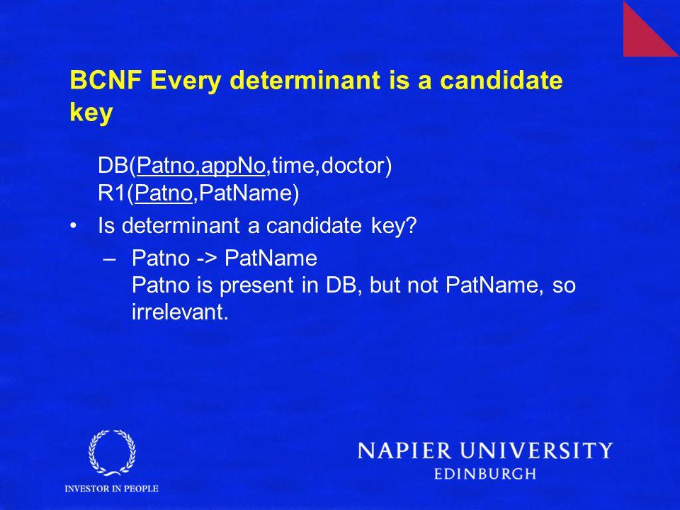 Continued … DB(Patno,appNo,time,doctor) R1(Patno,PatName) –Patno,appNo -> Time,doctor All LHS and RHS present so relevant.