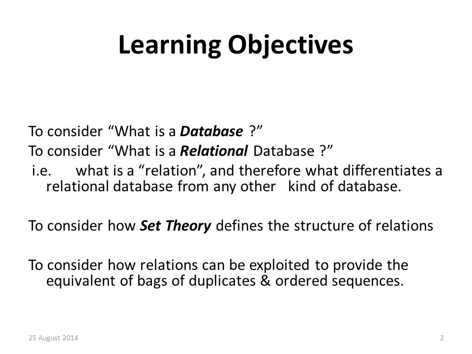 Purpose of Relation Thus a relation not only holds a collection of data, but also relates together the data items that it holds.