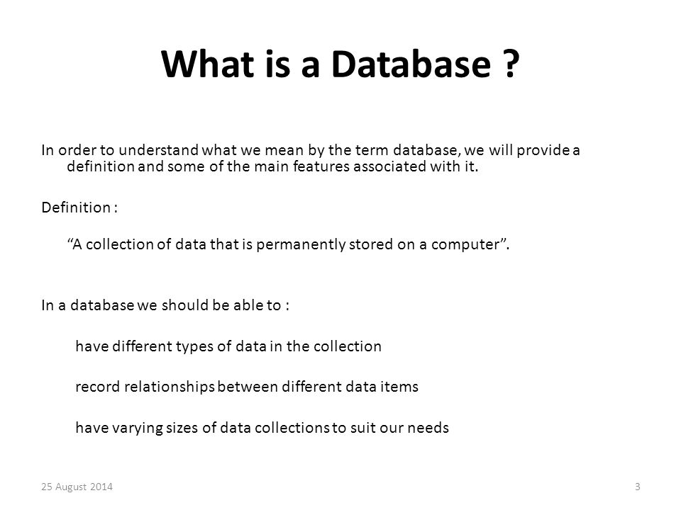 We need to be able to Insert new data, delete old data, and amend existing data in the collection.