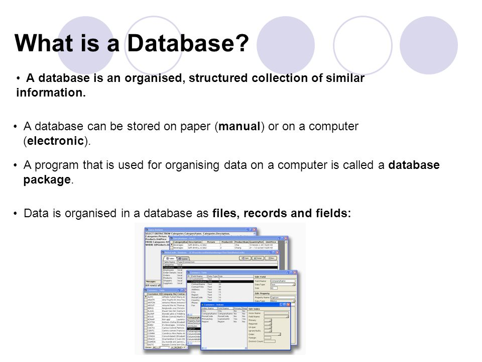 What is a Database. A database can be stored on paper (manual) or on a computer (electronic).