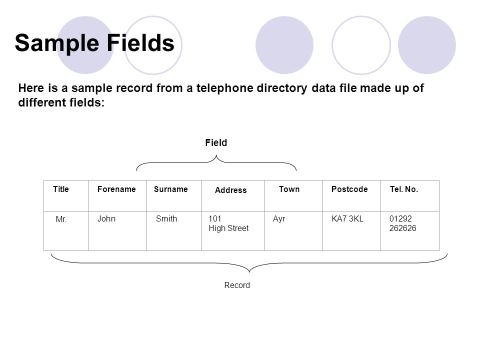 Field Record Here is a sample record from a telephone directory data file made up of different fields: Mr.