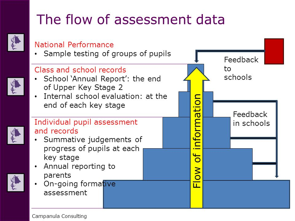 Campanula Consulting The flow of assessment data Flow of information Individual pupil assessment and records Summative judgements of progress of pupils at each key stage Annual reporting to parents On-going formative assessment Class and school records School 'Annual Report': the end of Upper Key Stage 2 Internal school evaluation: at the end of each key stage National Performance Sample testing of groups of pupils Feedback in schools Feedback to schools