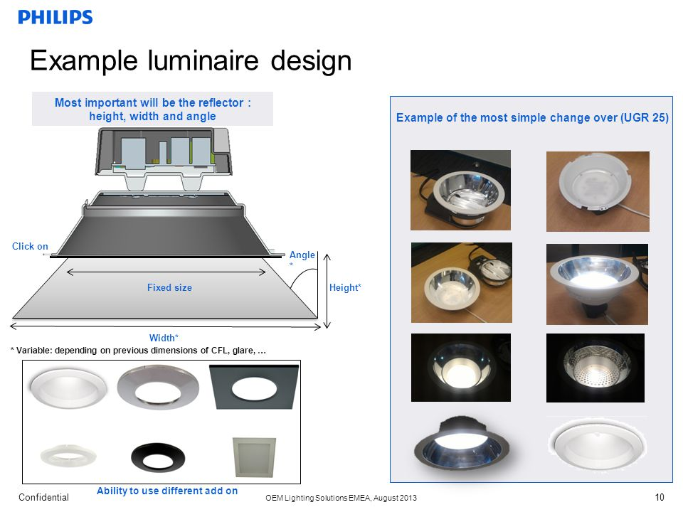 Confidential OEM Lighting Solutions EMEA, August 2013 Height* Width* * Variable: depending on previous dimensions of CFL, glare, … Ability to use diff