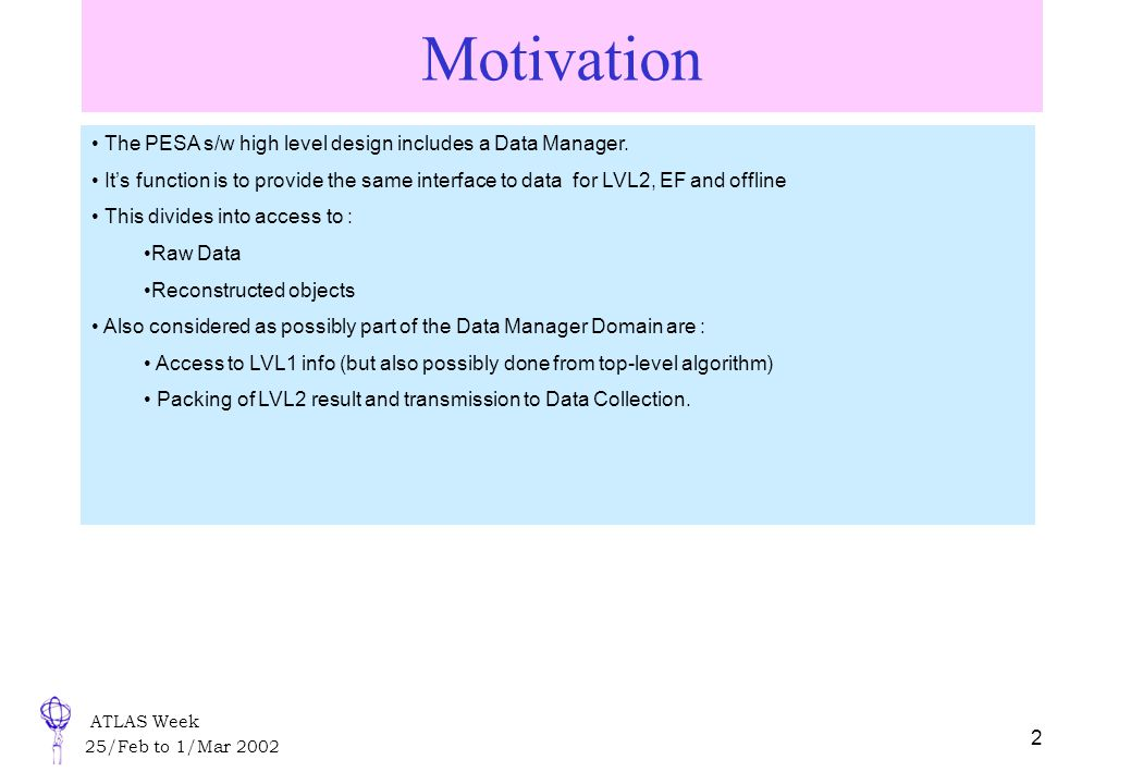 ATLAS Week 25/Feb to 1/Mar Motivation The PESA s/w high level design includes a Data Manager.