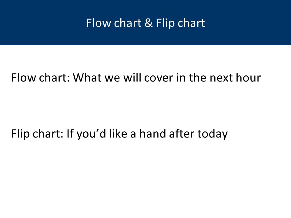 Flow chart: What we will cover in the next hour Flip chart: If you'd like a hand after today Flow chart & Flip chart