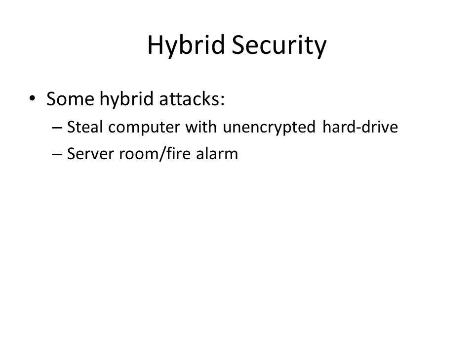 Hybrid Security Some hybrid attacks: – Steal computer with unencrypted hard-drive – Server room/fire alarm