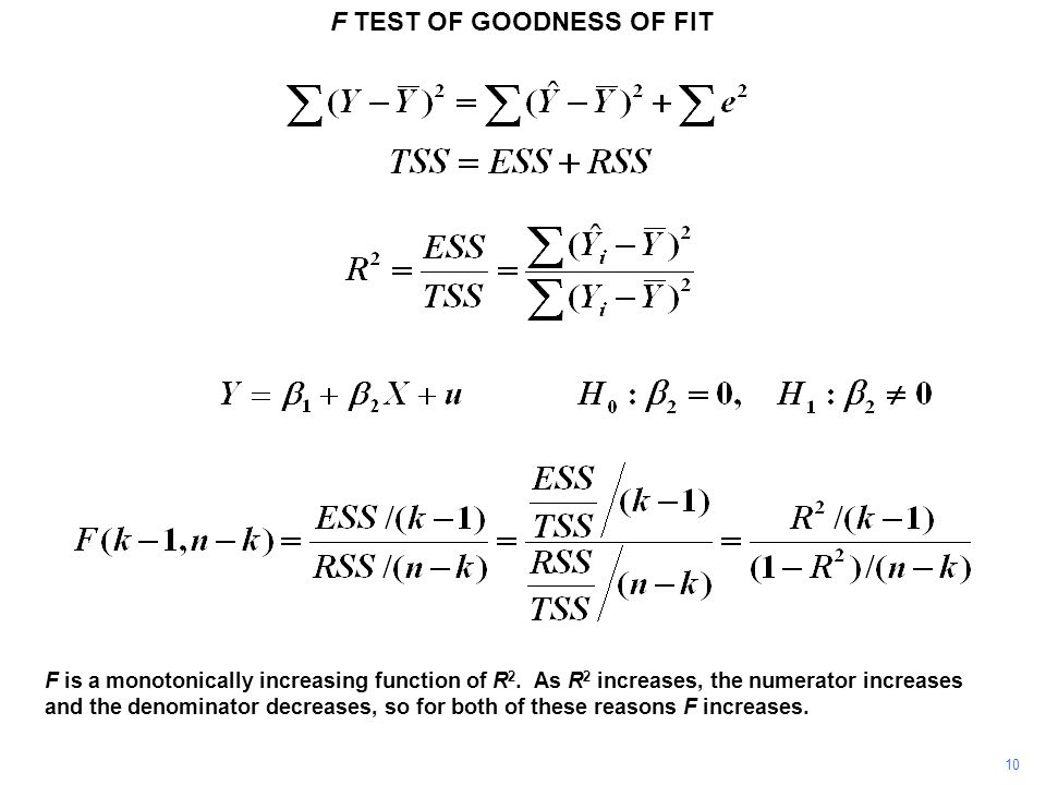 F TEST OF GOODNESS OF FIT 10 F is a monotonically increasing function of R 2. As R 2 increases, the numerator increases and the denominator decreases,
