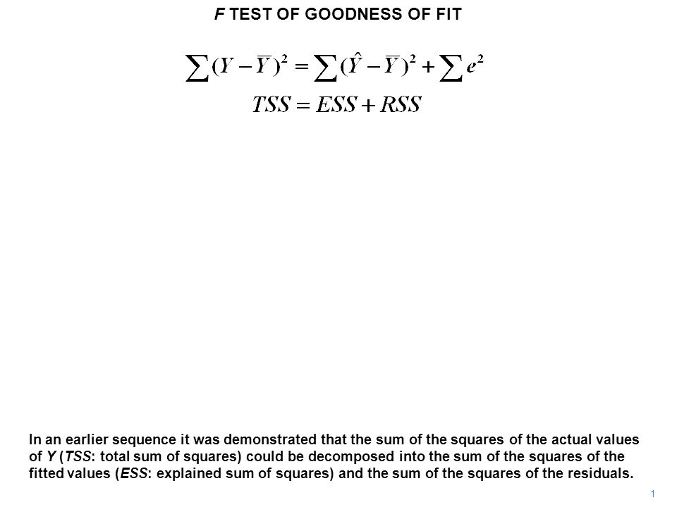F TEST OF GOODNESS OF FIT 2 R 2, the usual measure of goodness of fit, was then defined to be the ratio of the explained sum of squares to the total sum of squares.