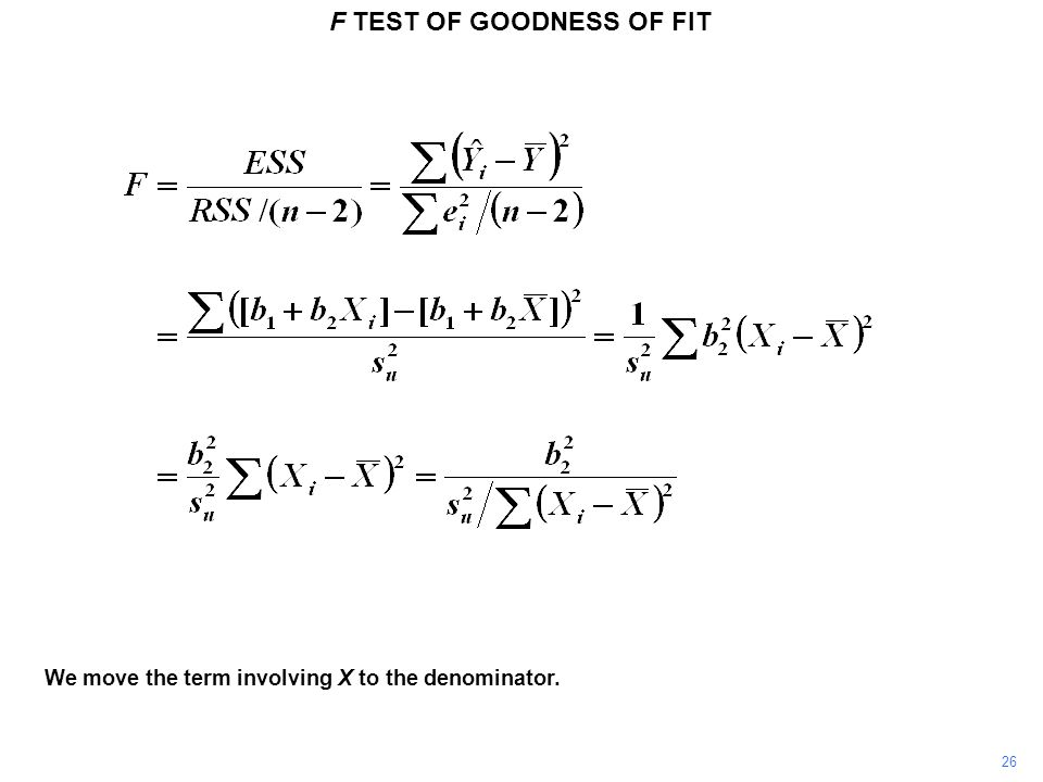 26 F TEST OF GOODNESS OF FIT We move the term involving X to the denominator.