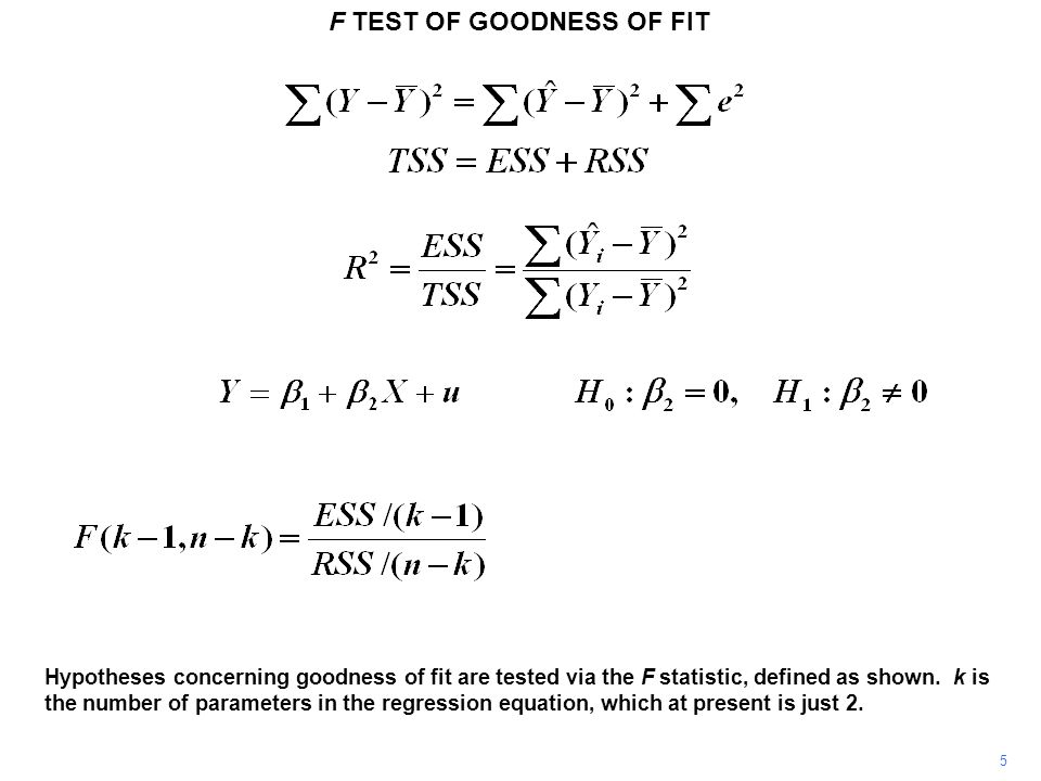 F TEST OF GOODNESS OF FIT 5 Hypotheses concerning goodness of fit are tested via the F statistic, defined as shown. k is the number of parameters in t