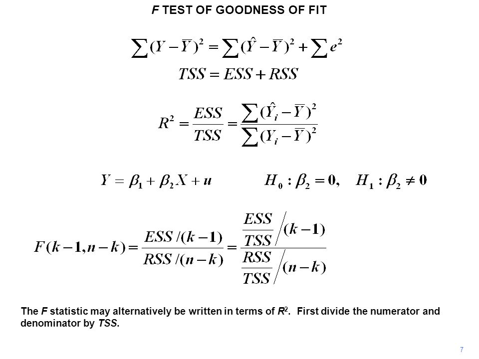 F TEST OF GOODNESS OF FIT R2R2 F Why do we perform the test indirectly, through F, instead of directly through R 2 .