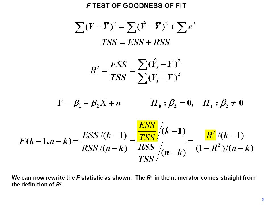 F TEST OF GOODNESS OF FIT 9 It is easily demonstrated that RSS/TSS is equal to 1 – R 2.