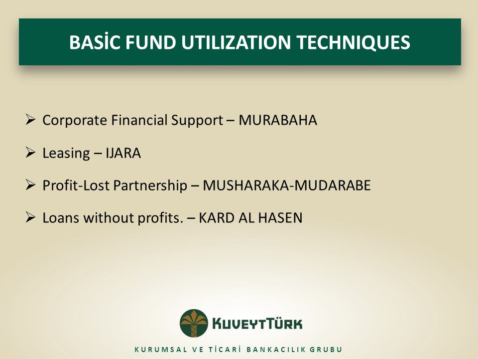  Corporate Financial Support – MURABAHA  Leasing – IJARA  Profit-Lost Partnership – MUSHARAKA-MUDARABE  Loans without profits. – KARD AL HASEN BAS
