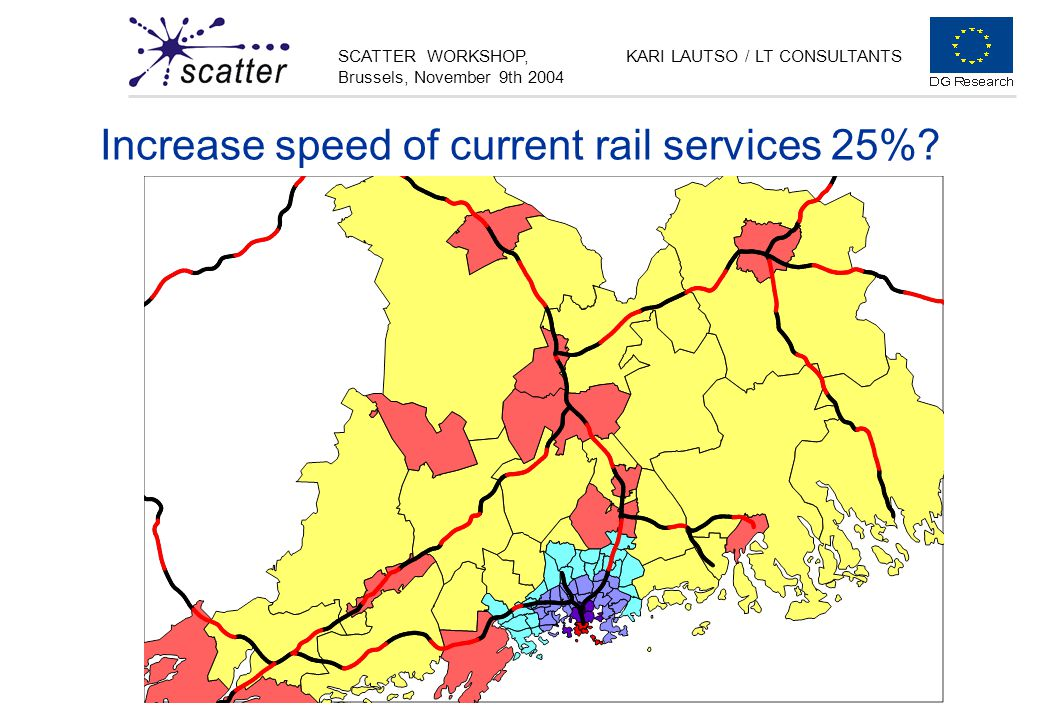 SCATTER WORKSHOP, Brussels, November 9th 2004 KARI LAUTSO / LT CONSULTANTS Increase speed of current rail services 25%