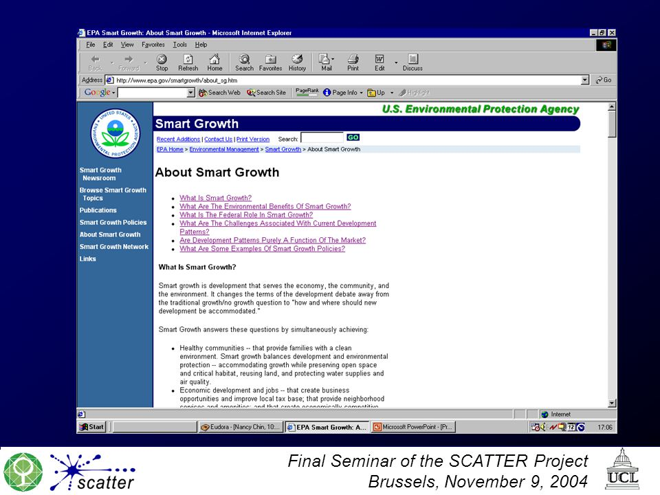Final Seminar of the SCATTER Project Brussels, November 9, 2004