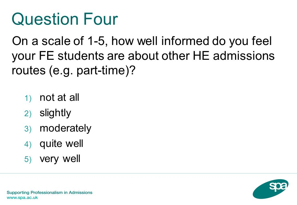 Question Five On a scale of 1-5, how well informed do you feel your FE students should be about other HE admissions routes (e.g.