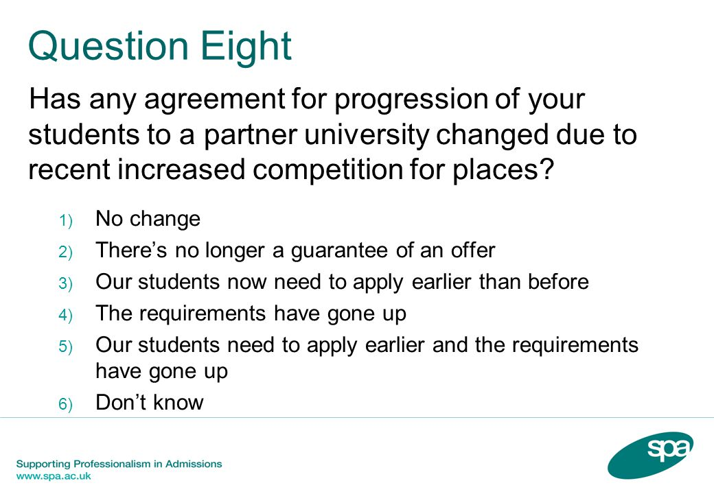 Question Eight Has any agreement for progression of your students to a partner university changed due to recent increased competition for places.