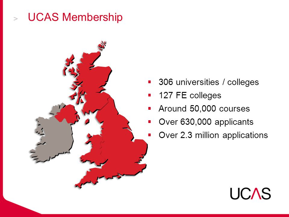  306 universities / colleges  127 FE colleges  Around 50,000 courses  Over 630,000 applicants  Over 2.3 million applications UCAS Membership