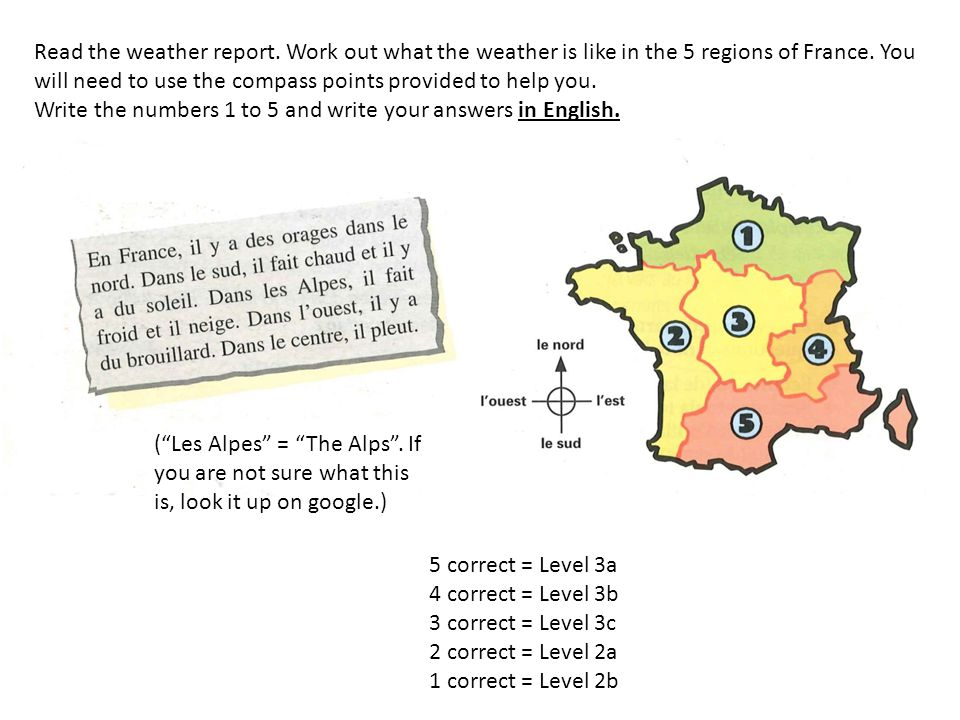 WRITING TASK: Using the weather report from the previous reading exercise, write a weather report in French based on the weather map below.