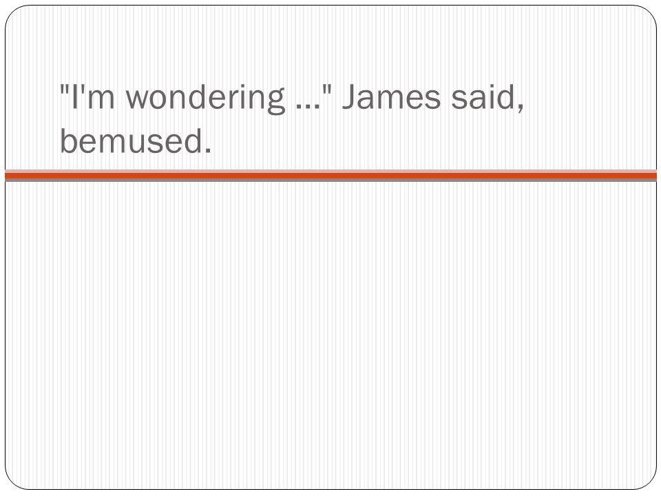 I m wondering … James said, bemused.