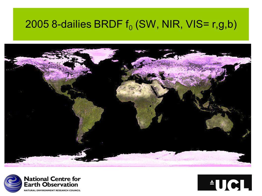 2005 8-dailies BRDF f 0 (SW, NIR, VIS= r,g,b)