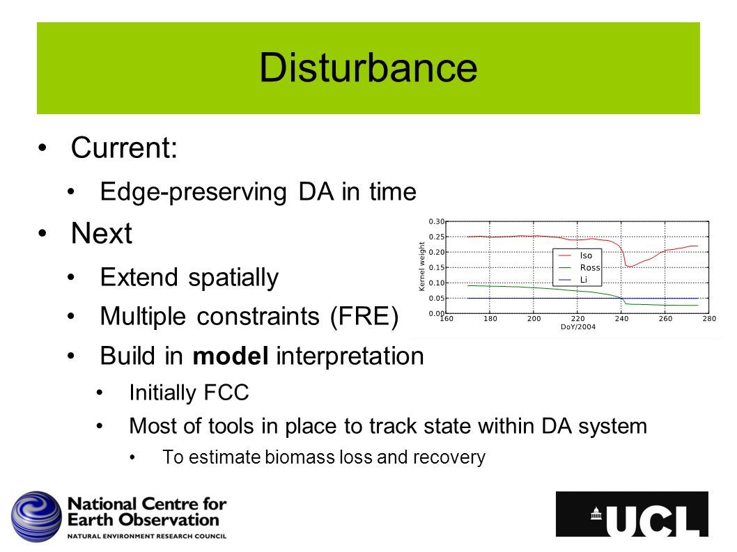 Current: Edge-preserving DA in time Next Extend spatially Multiple constraints (FRE) Build in model interpretation Initially FCC Most of tools in plac