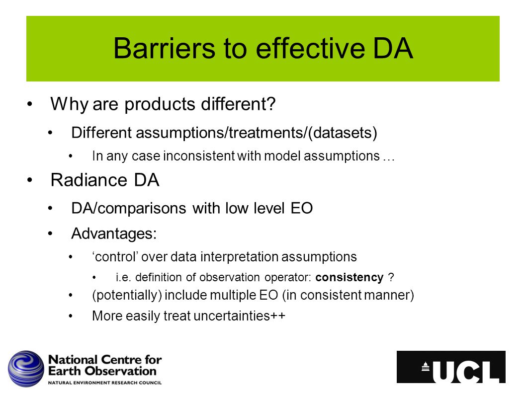 Barriers to effective DA Why are products different.